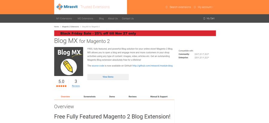 magento 2 blog by miravits
