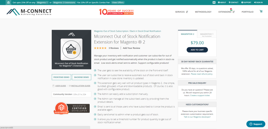 Magento 2 Product Alert Extension byMconnect
