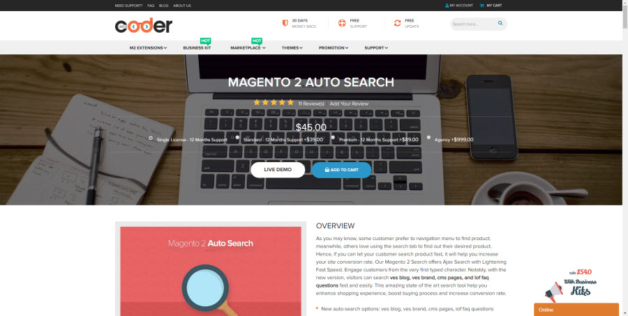 auto search extension magento 2 by landofcoder
