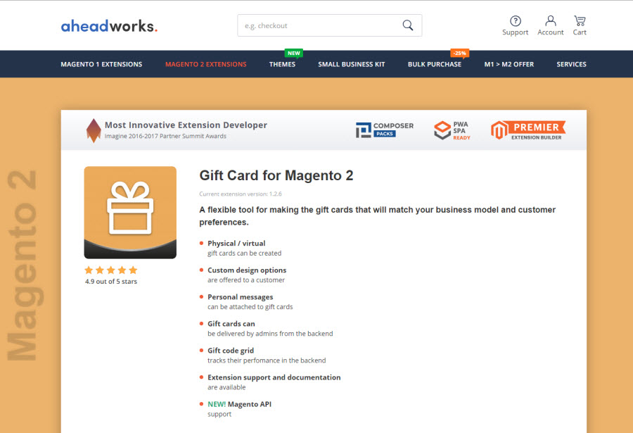 6. Magento 2 Gift Card Extension By aheadworks
