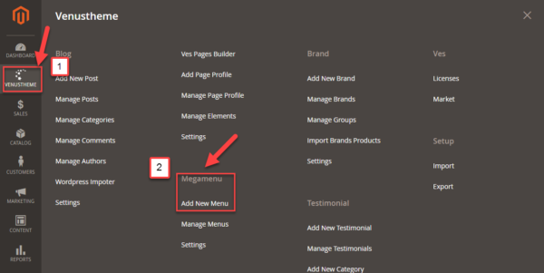 add menu widget magento 2. Step 1