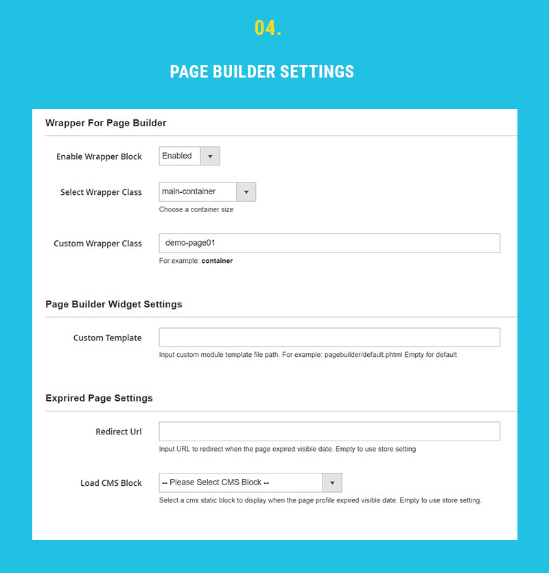 page builder setting