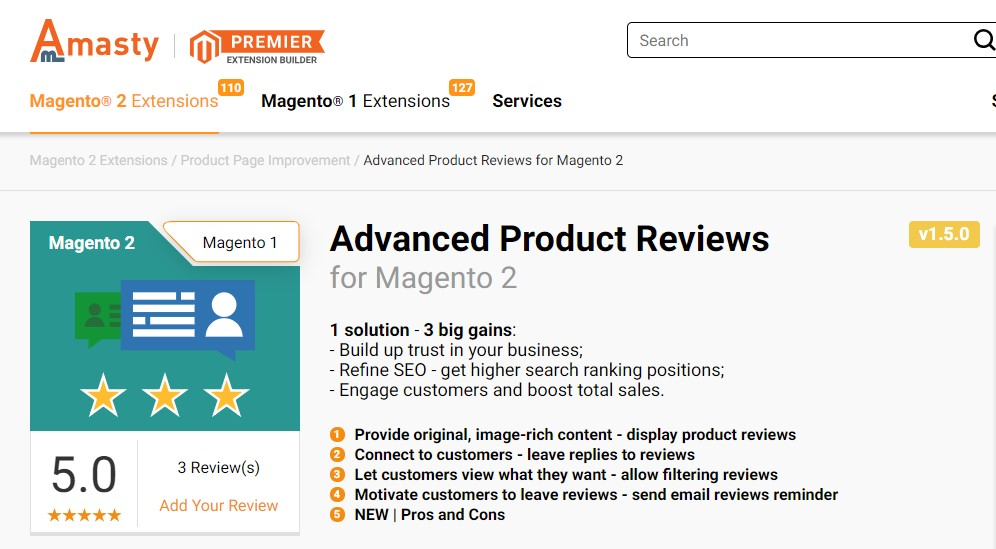 advanced product reviews extension for magento 2 website