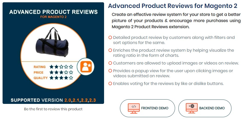 advanced product reviews for Magento 2 store