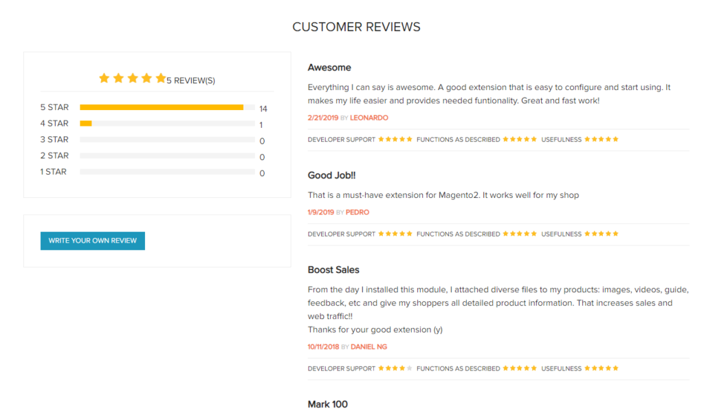 Magento 2 Product Attachments Extension reviews