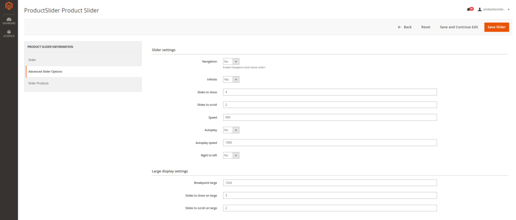advanced silder options in Recommended Products Extension for Magento 2