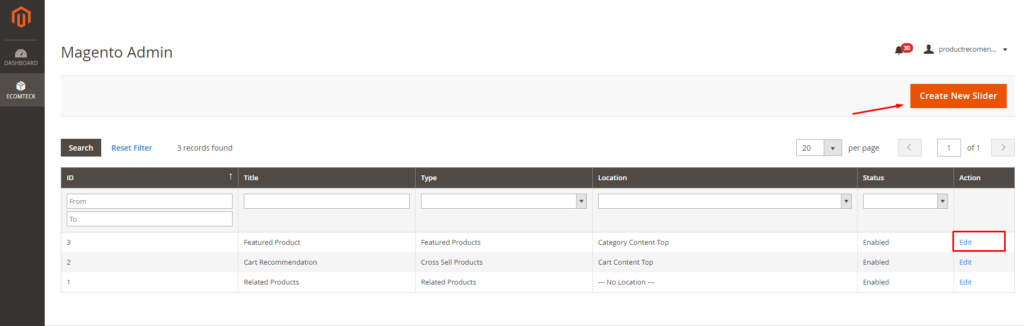 how to create and edit product silders with Magento 2 Recommended Products