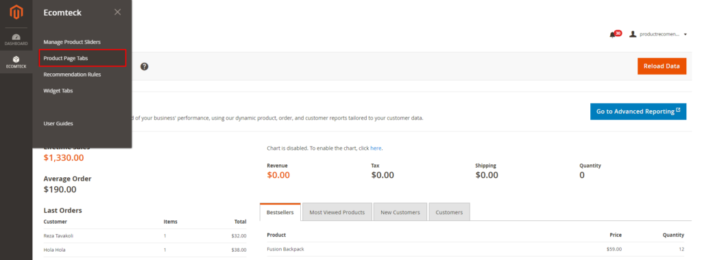 product page tabs in Magento 2 Recommended Products module
