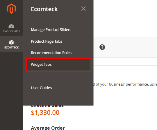 Widget tabs in Magento 2 Recommended Products Extension