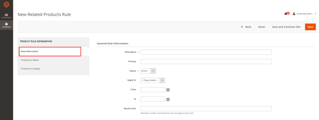 how to set rule information with Magento 2 Recommended Products Extension