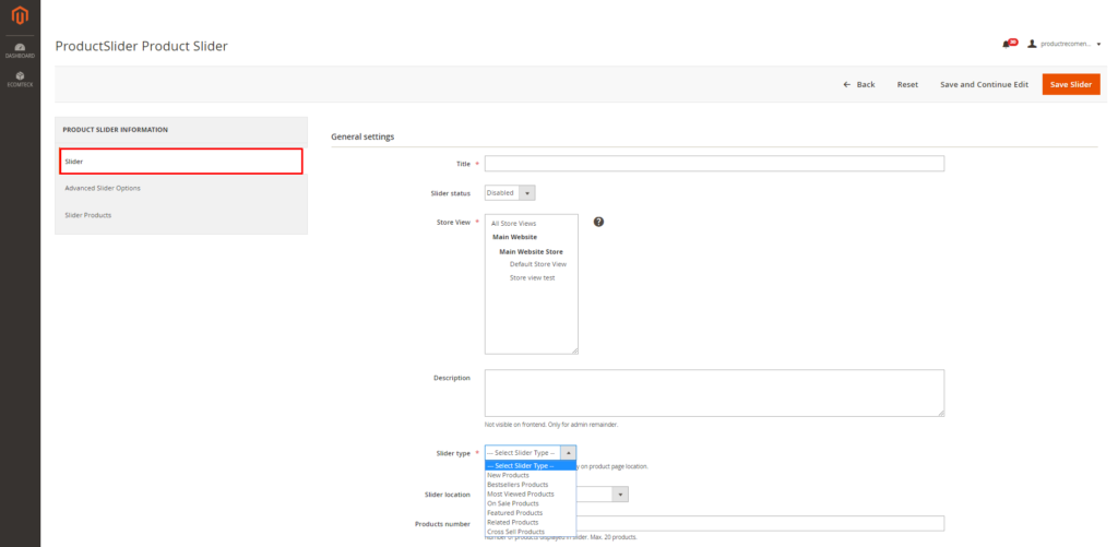 how to set silder general information in Magento 2 auto recommendation extension