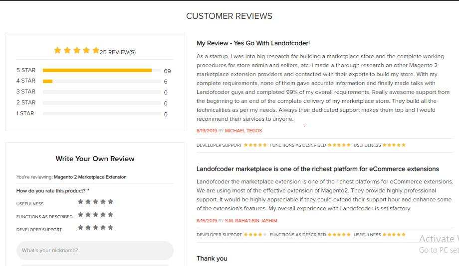 customer review Landofcoder magento 2 marketplace extension
