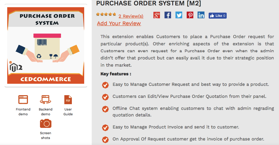 purchase order system for magento 2
