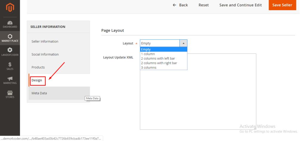 Design tab in magento 2 multi vendor plugin backend