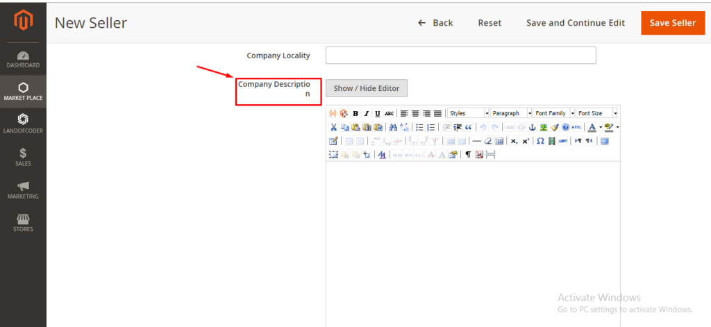 add seller company description in Magento 2 marketplace extension
