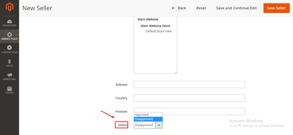 set seller status in magento 2 marketplace plugin