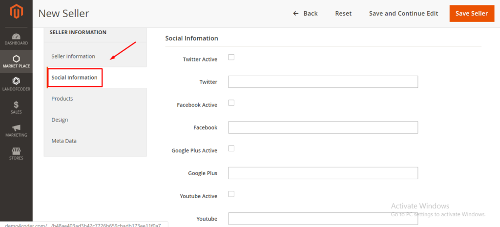 Social information in magento 2 marketplace extension backend