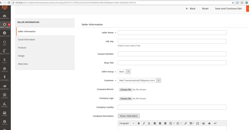 Seller information tab in marketplace for magento 2